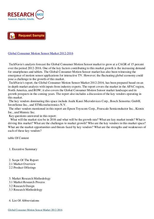 Global Consumer Motion Sensor Market 2012-2016  TechNavio's analysts forecast the Global Consumer Motion Sensor market to ...