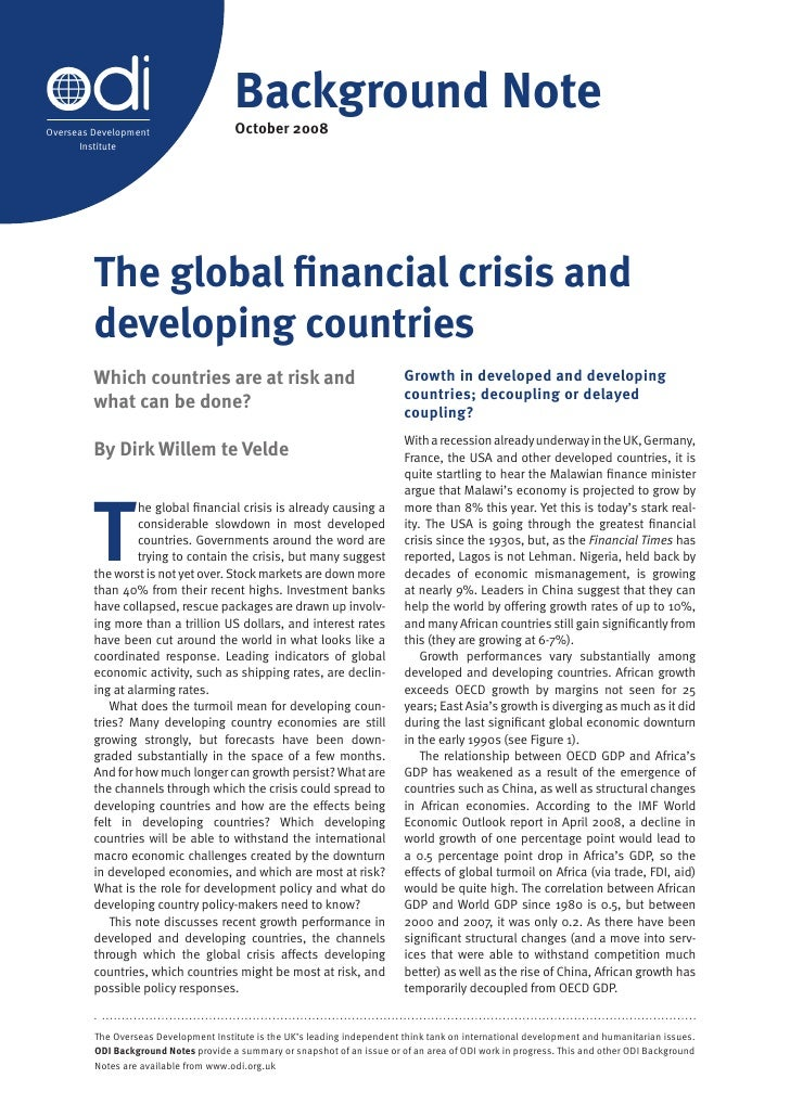 Global Crisis And Developing Countries