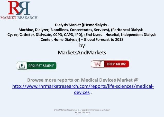 Dialysis Market [(Hemodialysis Machine, Dialyzer, Bloodlines, Concentrates, Services), (Peritoneal Dialysis Cycler, Cathet...