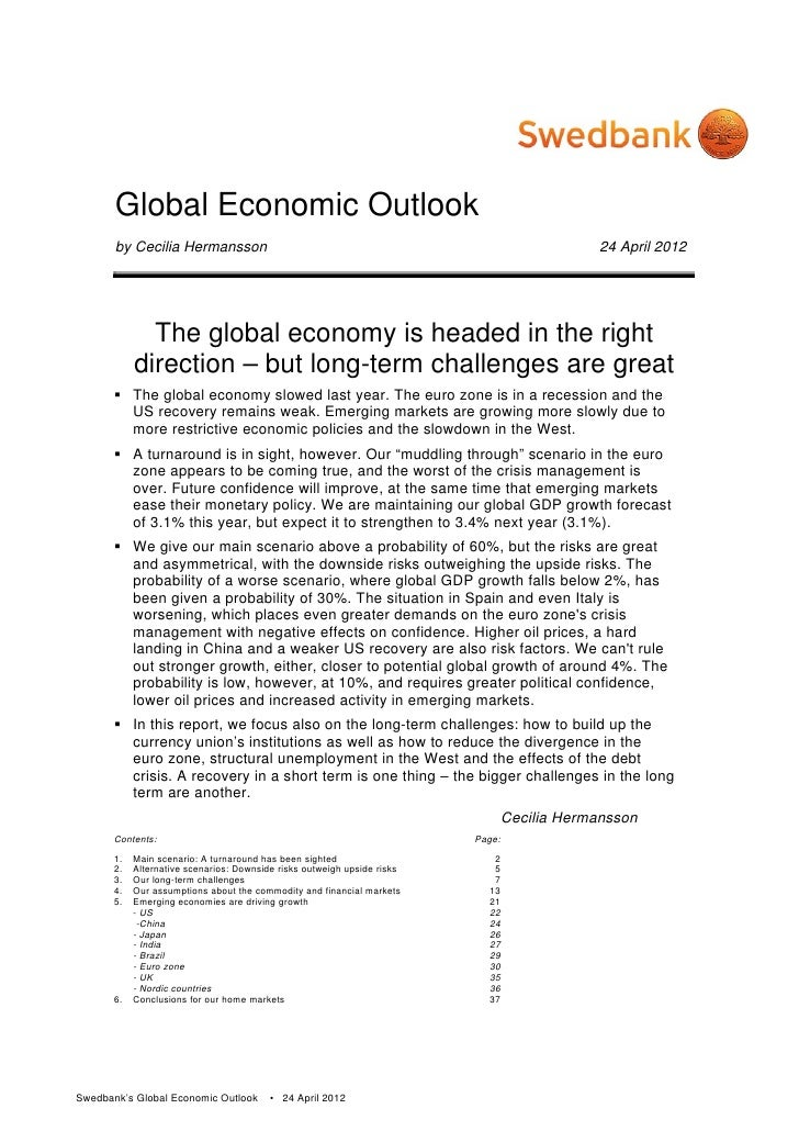 Global Economic Outlook       by Cecilia Hermansson                                                                   24 A...