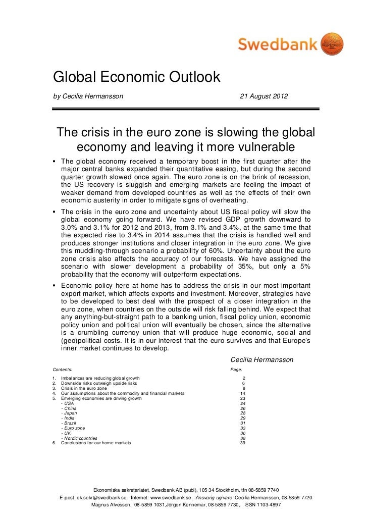 Global Economic Outlook - August 2012