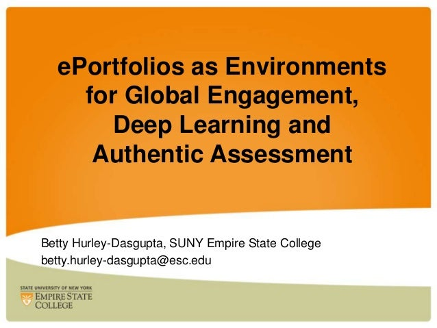 ePortfolios as Environments for Global Engagement, Deep Learning and Authentic Assessment  Betty Hurley-Dasgupta, SUNY Emp...