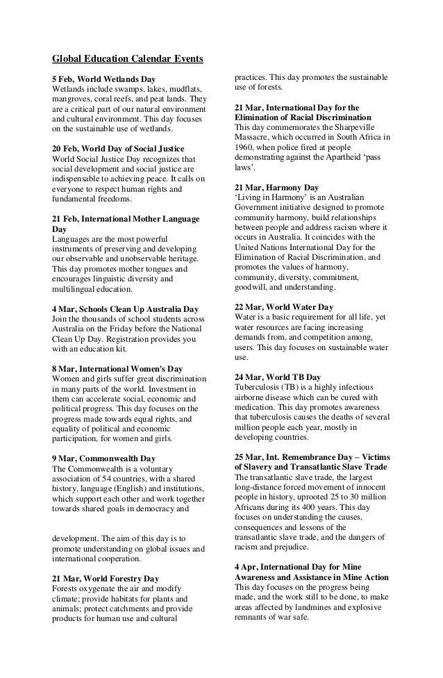Global education calendar events