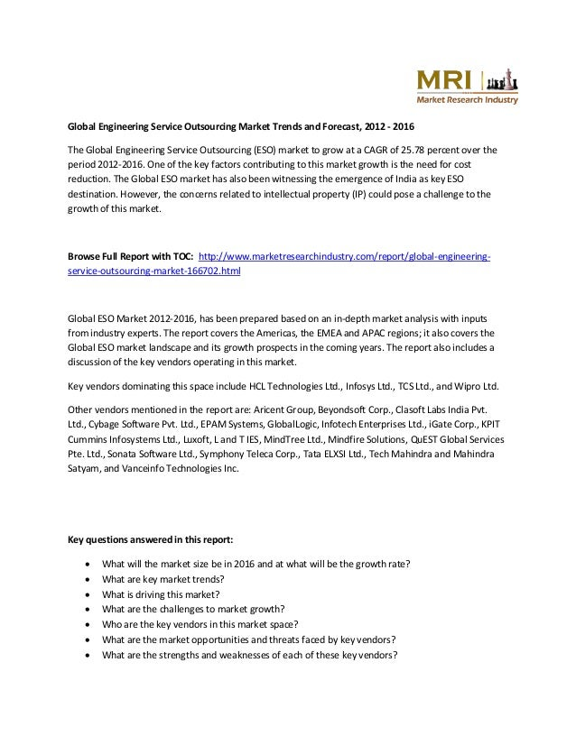 Global Engineering Service Outsourcing Market Trends and Forecast, 2012 - 2016