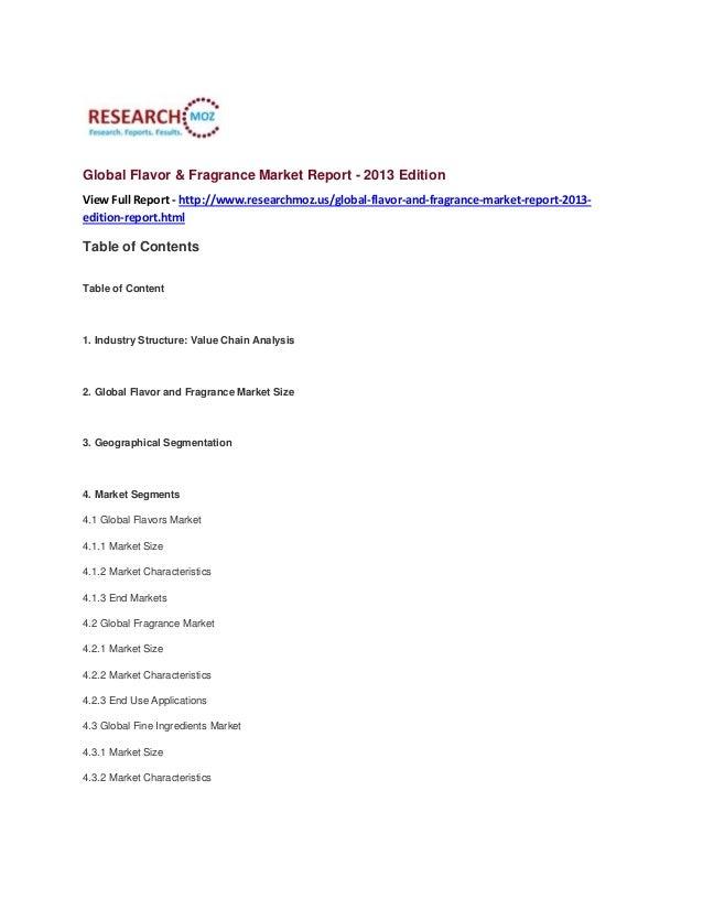 Global Flavor & Fragrance Market Report - 2013 Edition
