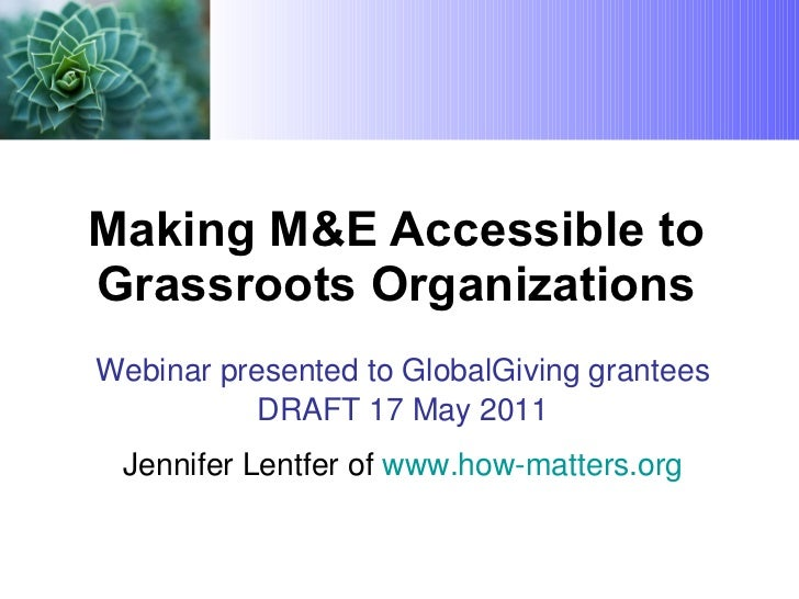 M&E for GlobalGiving grantees