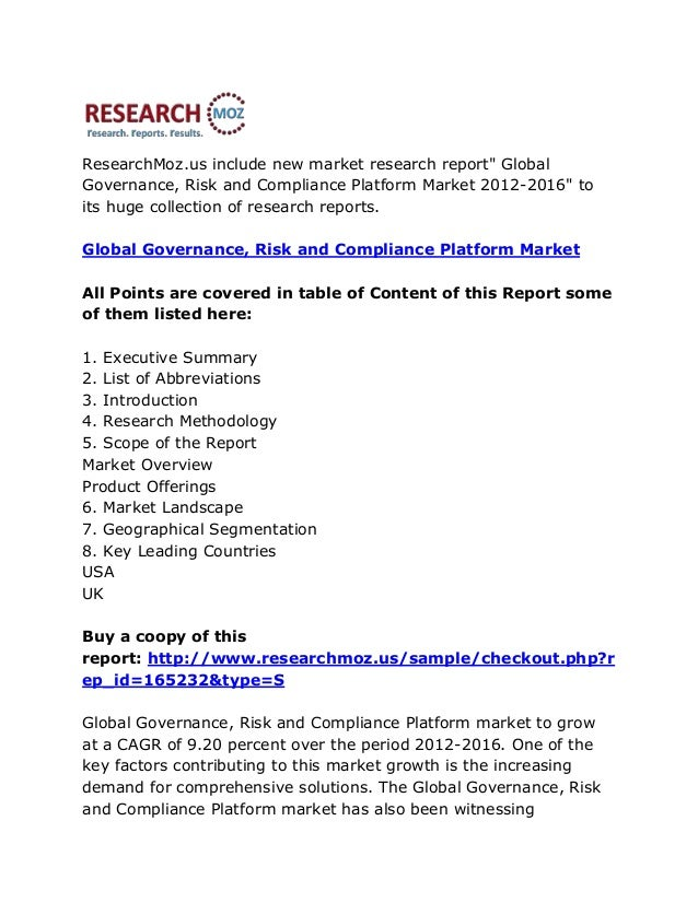"""ResearchMoz.us include new market research report"""" GlobalGovernance, Risk and Compliance Platform Market 2012-2016"""" toits ..."""