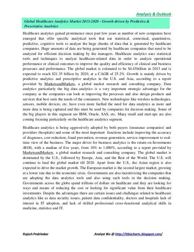 Analysis & Outlook Rajesh Prabhakar Analyst Bio @ http://itbizcharts.blogspot.com/ Healthcare analytics gained prominence ...