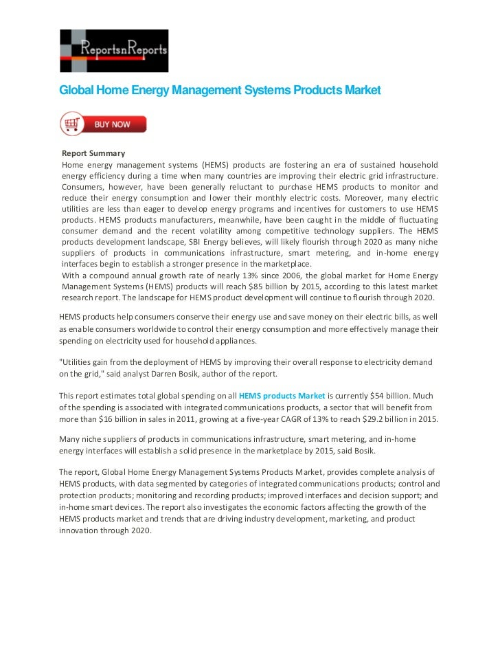 Global Home Energy Management Systems Products MarketReport SummaryHome energy management systems (HEMS) products are fost...