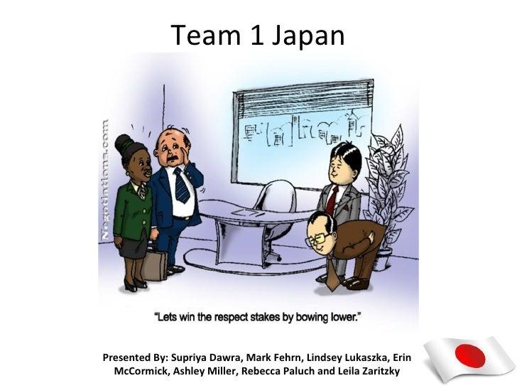 Team 1 JapanPresented By: Supriya Dawra, Mark Fehrn, Lindsey Lukaszka, Erin  McCormick, Ashley Miller, Rebecca Paluch and ...