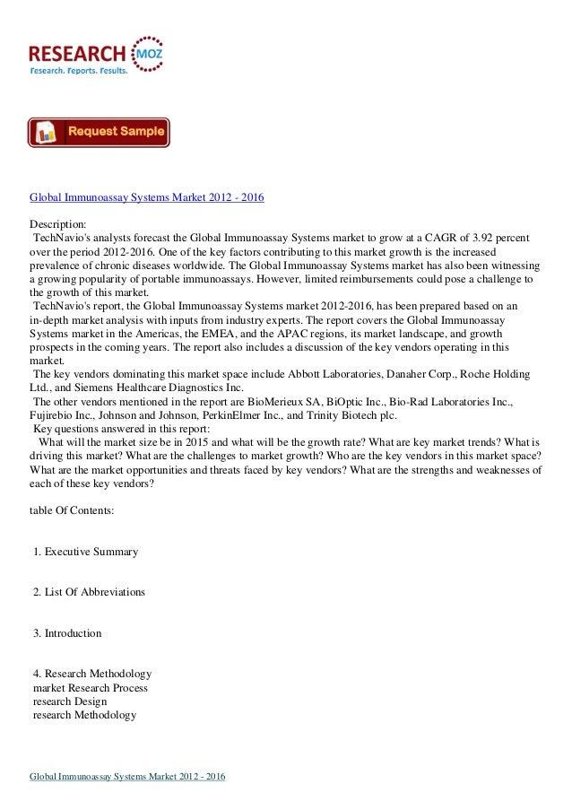 Global Immunoassay Systems Market 2012 - 2016Description:TechNavios analysts forecast the Global Immunoassay Systems marke...