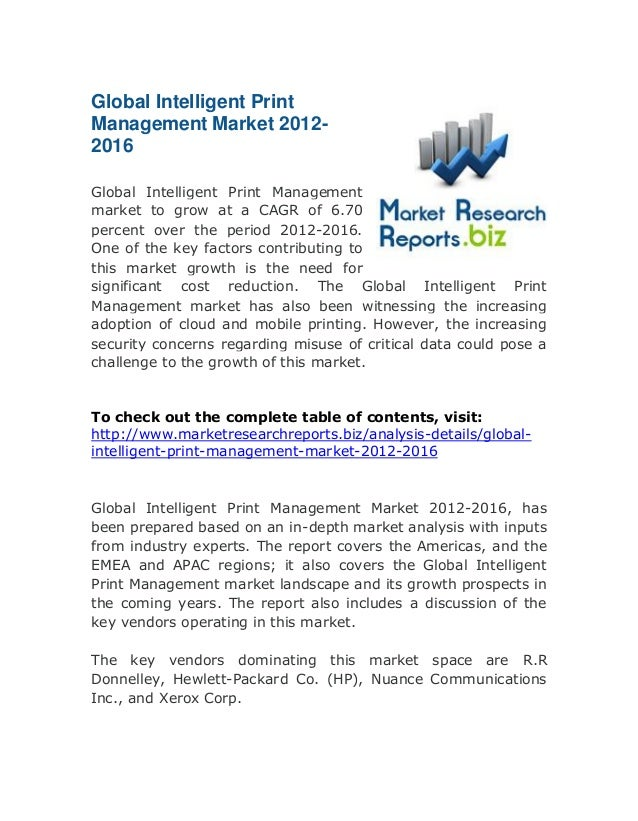 Global Intelligent Print Management Market 2012-2016: Latest Research Reports