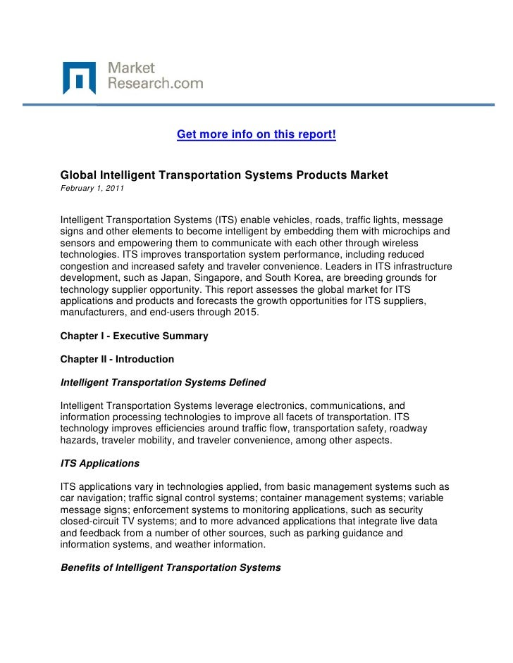 Get more info on this report!Global Intelligent Transportation Systems Products MarketFebrua...