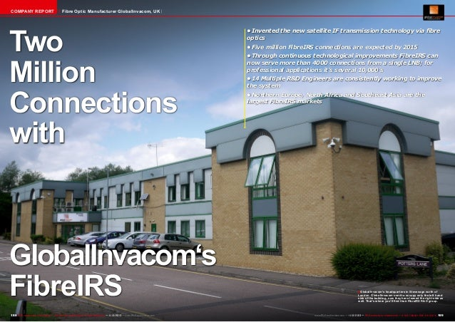 COMPANY REPORT  Fibre Optic Manufacturer GlobalInvacom, UK  Two Million Connections with  GlobalInvacom's FibreIRS 188 TEL...