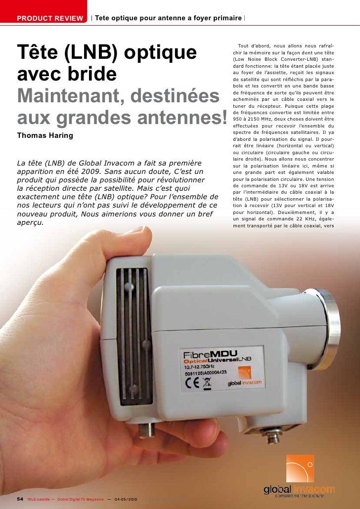 PRODUCT REVIEW                        Tete optique pour antenne a foyer primaire     Tête (LNB) optique                   ...