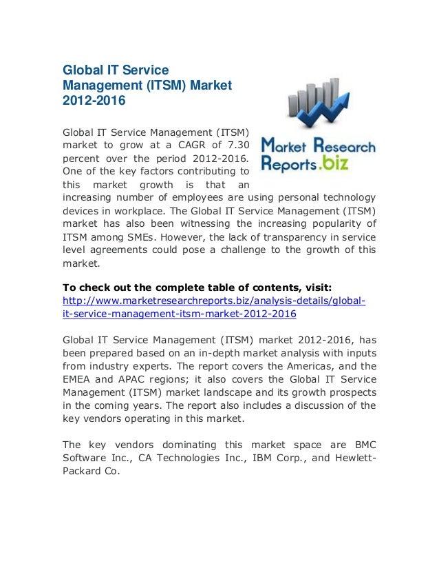 Global IT Service Management (ITSM) Market 2012-2016: Latest Research top