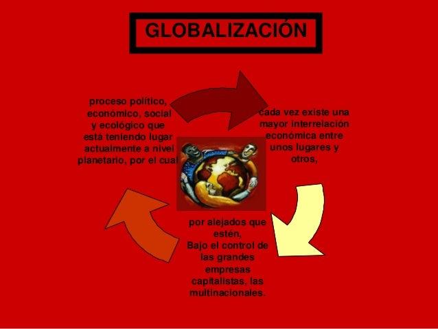 GLOBALIZACIÓN   proceso político,  económico, social                      cada vez existe una   y ecológico que           ...