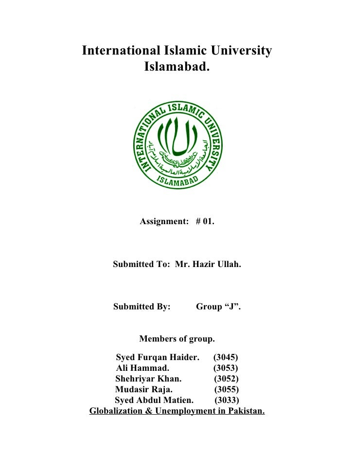 International Islamic University          Islamabad.            Assignment: # 01.      Submitted To: Mr. Hazir Ullah.     ...