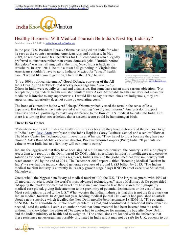 Globalization   case - medical tourism in india