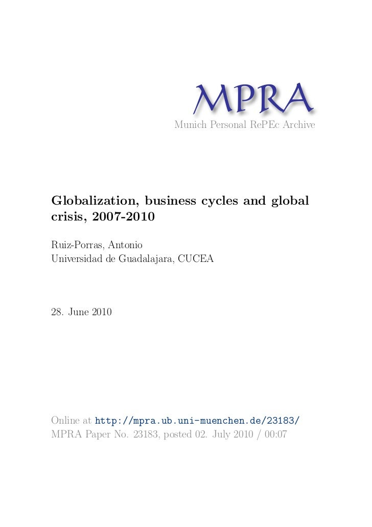 MP A                              R                        Munich Personal RePEc ArchiveGlobalization, business cycles and...