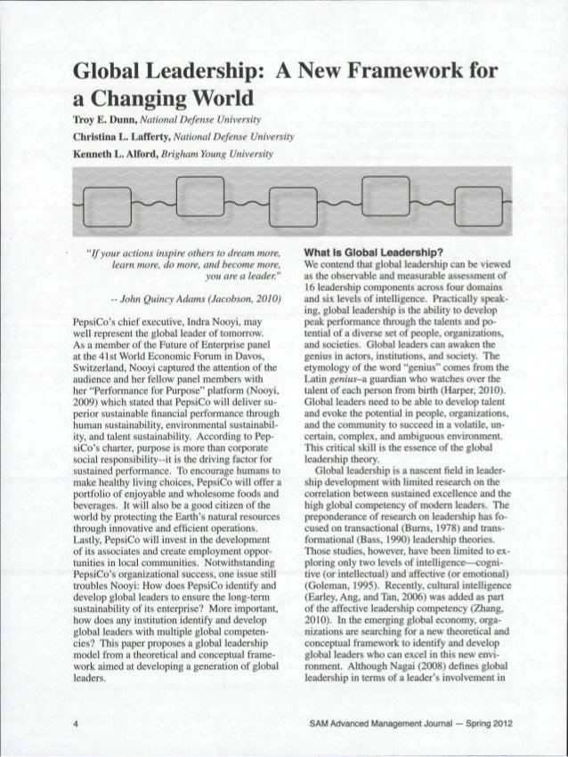 Global Leadership: A New Framework for a Changing World Troy E. Dunn, National Defense University Christina L. Lafferty, N...