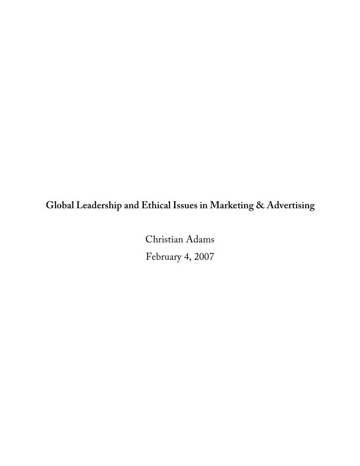 Global leadership and ethical issues in marketing & advertising