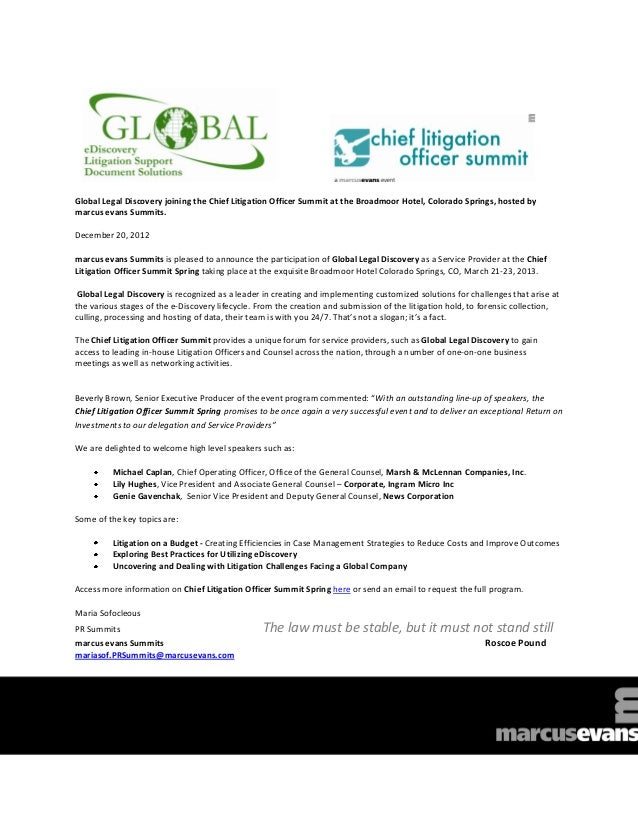 Global Legal Discovery joining the Chief Litigation Officer Summit at the Broadmoor Hotel, Colorado Springs, hosted bymarc...