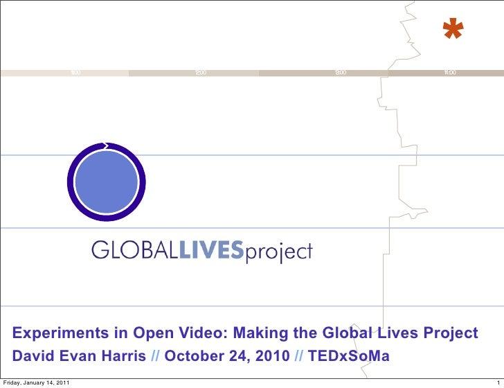 Experiments in Open Video: Making the Global Lives Project   David Evan Harris // October 24, 2010 // TEDxSoMaFriday, Janu...