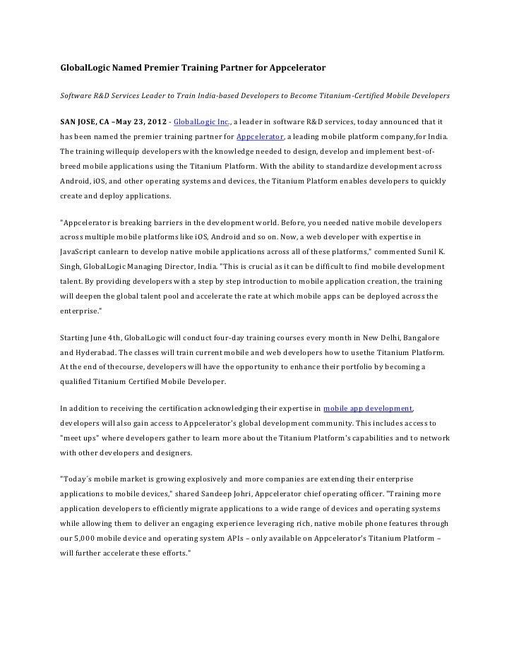 GlobalLogic Named Premier Training Partner for Appcelerator