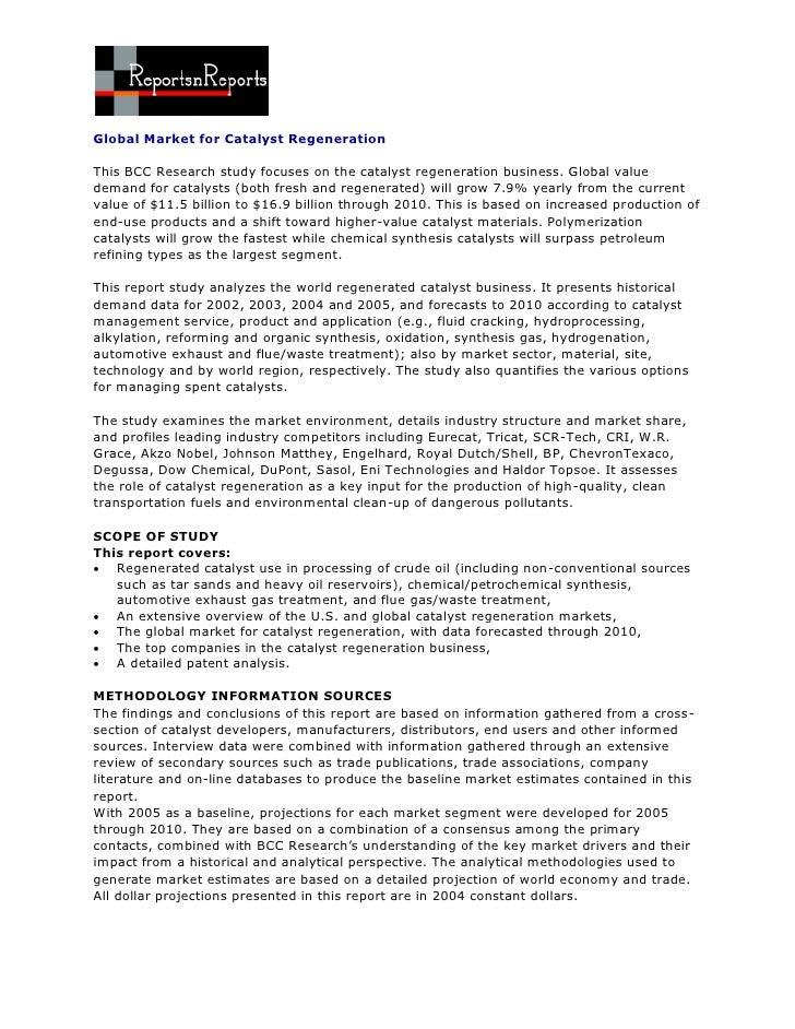 ReportsnReports - Global Market for Catalyst Regeneration