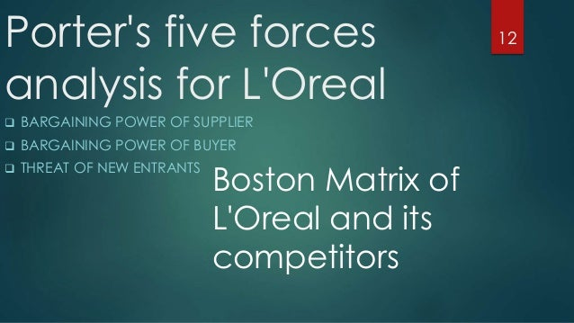 l oreal porters five forces Porter's 5 forces analysis for neutrogena for the meso-part of our analysis we have chosen porter's five forces framework: threat of new entry , l'oreal, clinique, unilever, etc, who all have a large market share bargaining power of customers.