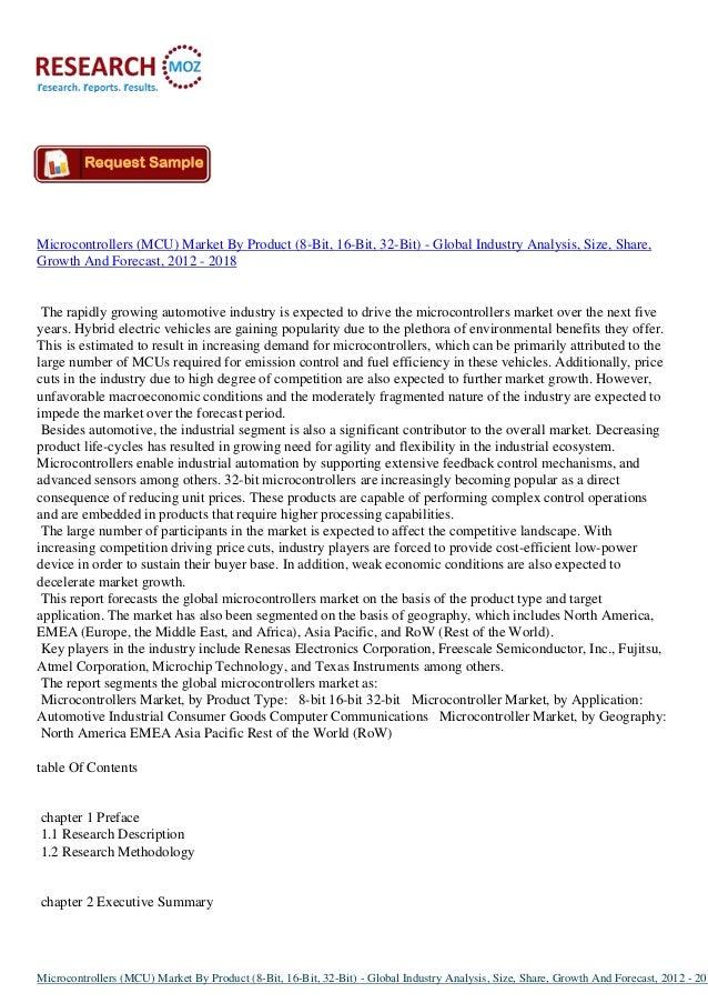 Global Microcontrollers Market Size (8-Bit, 16-Bit, 32-Bit) 2012 - 2018 | Researchmoz.us