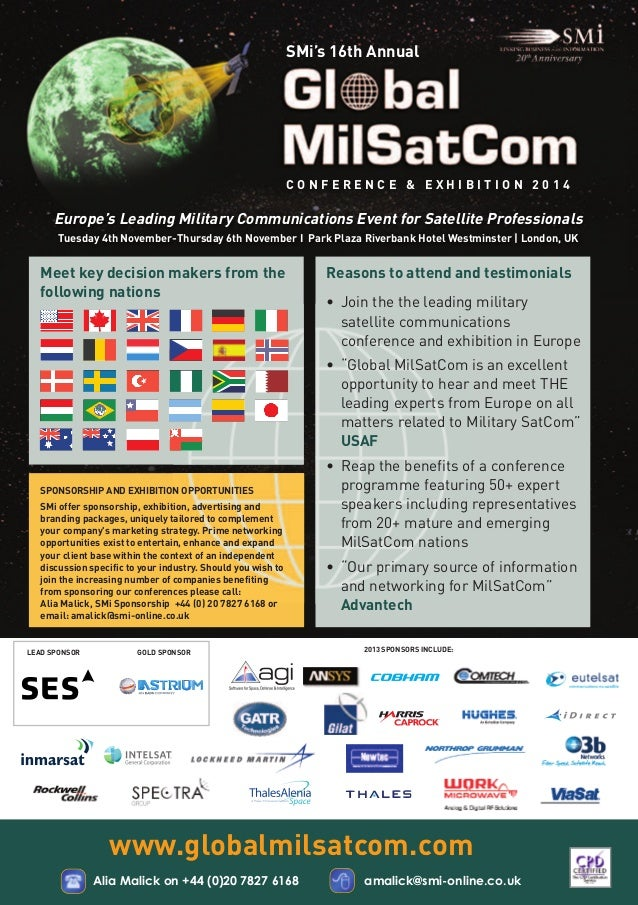 SMi's 16th Annual  Europe's Leading Military Communications Event for Satellite Professionals  Meet key decision makers fr...