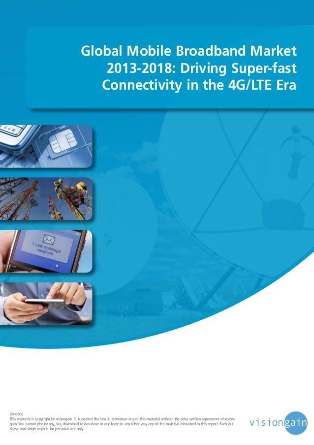 Global mobile broadband market 2013 2018