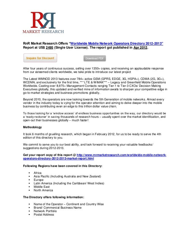"""RnR Market Research Offers """"Worldwide Mobile Network Operators Directory 2012-2013""""Report at US$ 2495 (Single User License..."""