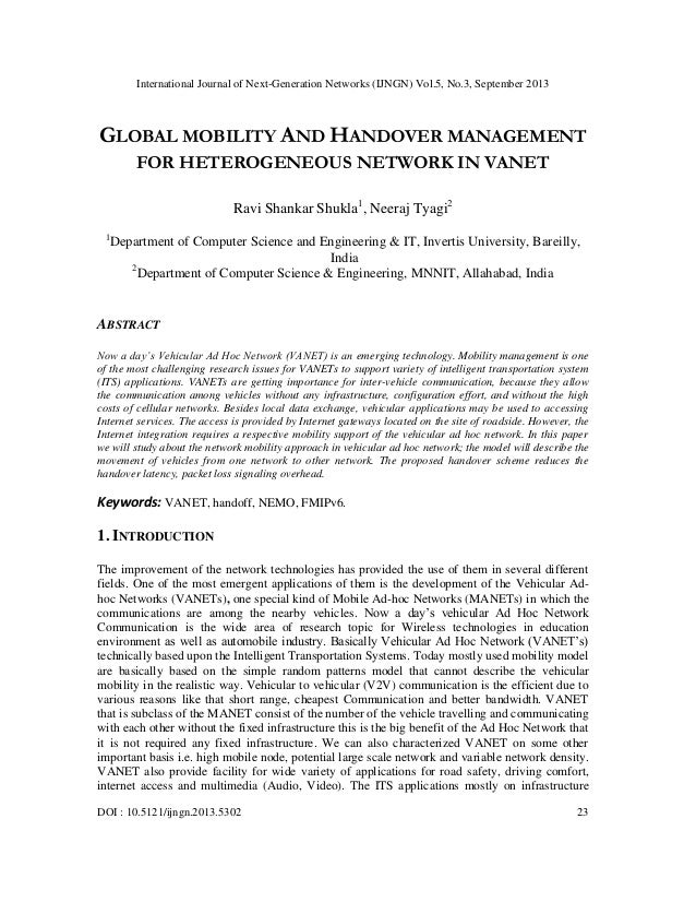 Global mobility and handover management for heterogeneous network in vanet
