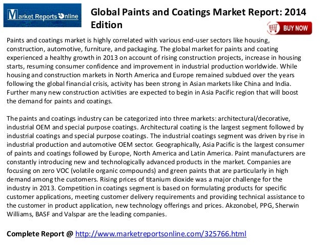 MRO: Global Paints and Coatings Market Report: 2014 Edition