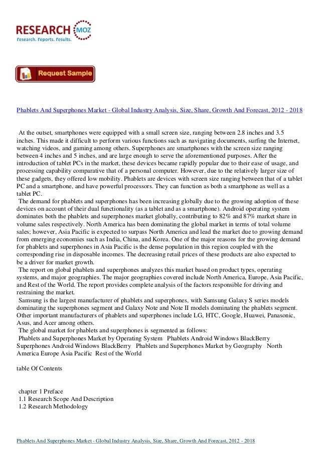 InDepthAnalysis: Global Phablets And Superphones Market 2012 - 2018