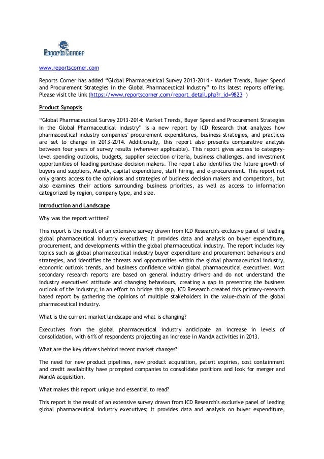 "www.reportscorner.comReports Corner has added ""Global Pharmaceutical Survey 2013-2014 - Market Trends, Buyer Spendand Proc..."