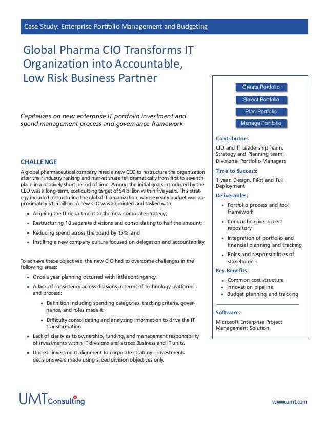 Global Pharma CIO transforms IT into accountable, low risk business partner