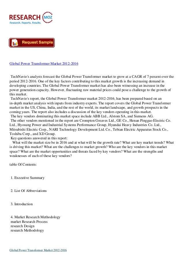 Global Power Transformer Market 2012-2016TechNavios analysts forecast the Global Power Transformer market to grow at a CAG...