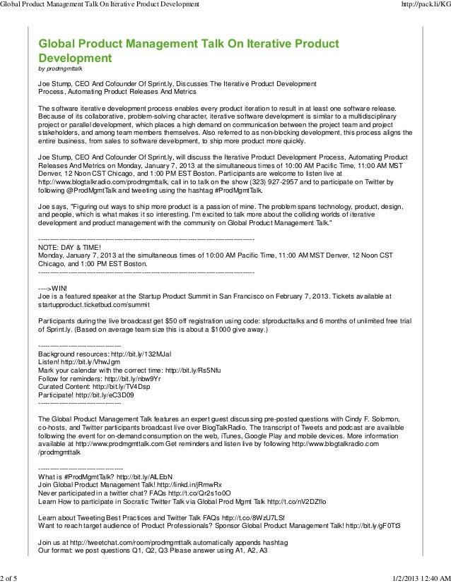 Jan 7, 2013: Global Product Management Talk on Iterative Product Development