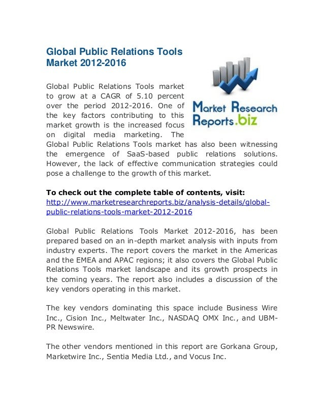 Global public relations tools market 2012 2016: Deep Research