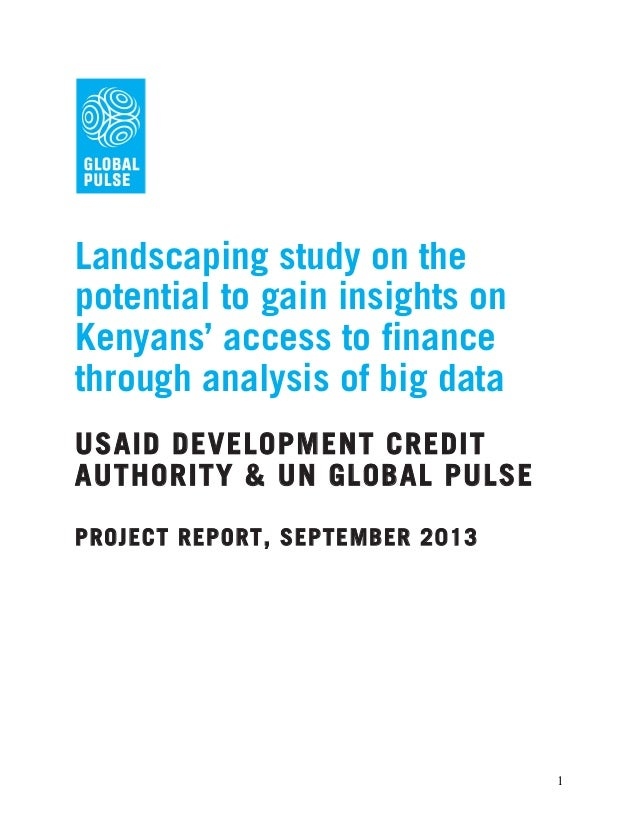 Landscaping study on the potential to gain insights on Kenyans' access to finance through analysis of big data USAID DEVEL...