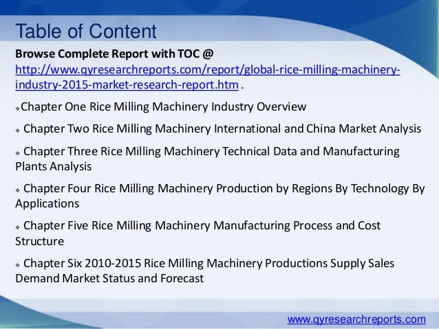 Milling Machinery Industry