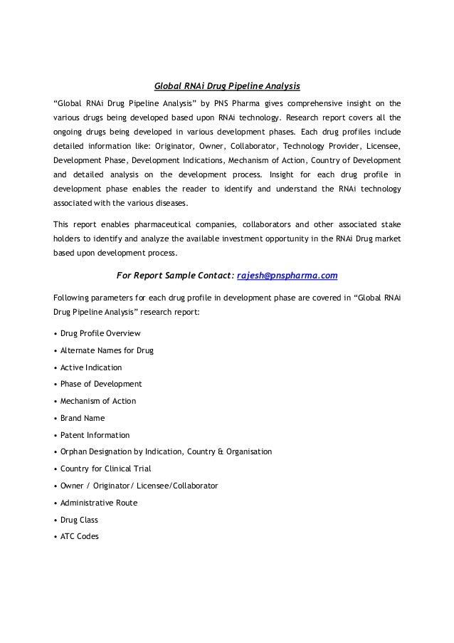 "Global RNAi Drug Pipeline Analysis ""Global RNAi Drug Pipeline Analysis"" by PNS Pharma gives comprehensive insight on the  ..."