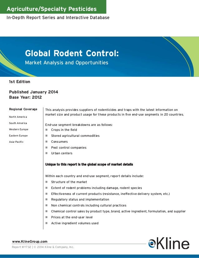 Agriculture/Specialty Pesticides In-Depth Report Series and Interactive Database  Global Rodent Control: Market Analysis a...
