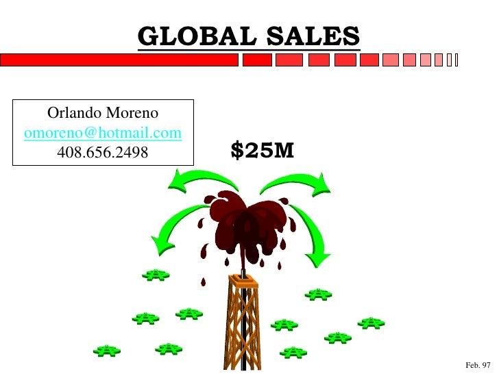 GLOBAL SALES    Orlando Moreno omoreno@hotmail.com     408.656.2498      $25M                                  Feb. 97