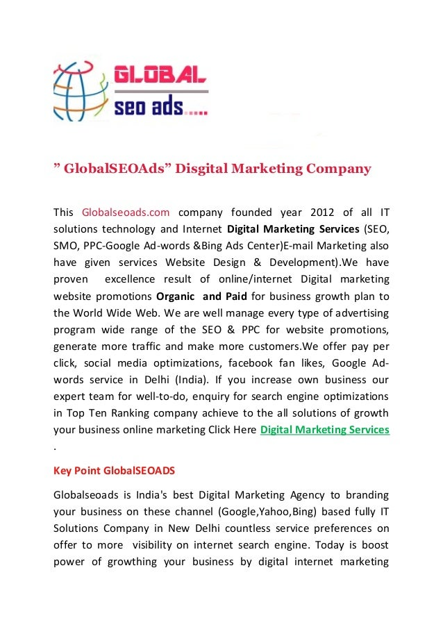 """ GlobalSEOAds"" Disgital Marketing Company  This Globalseoads.com company founded year 2012 of all IT  solutions technolog..."