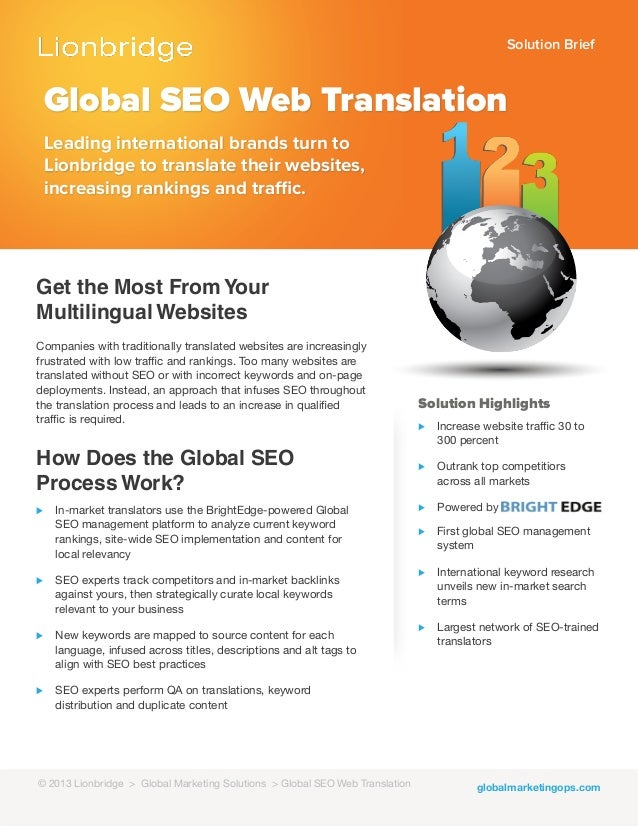 Solution Briefglobalmarketingops.comGlobal SEO Web TranslationLeading international brands turn toLionbridge to translate ...